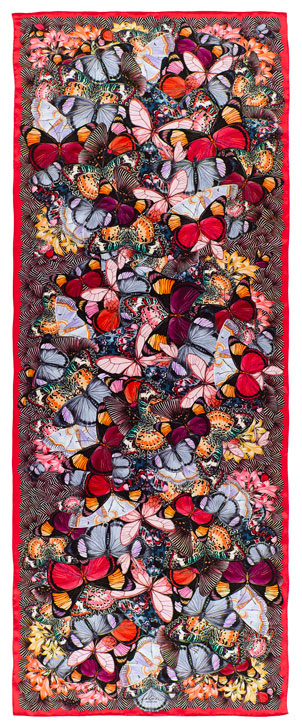 Flutterby Scarf Rosso Silk, Satin