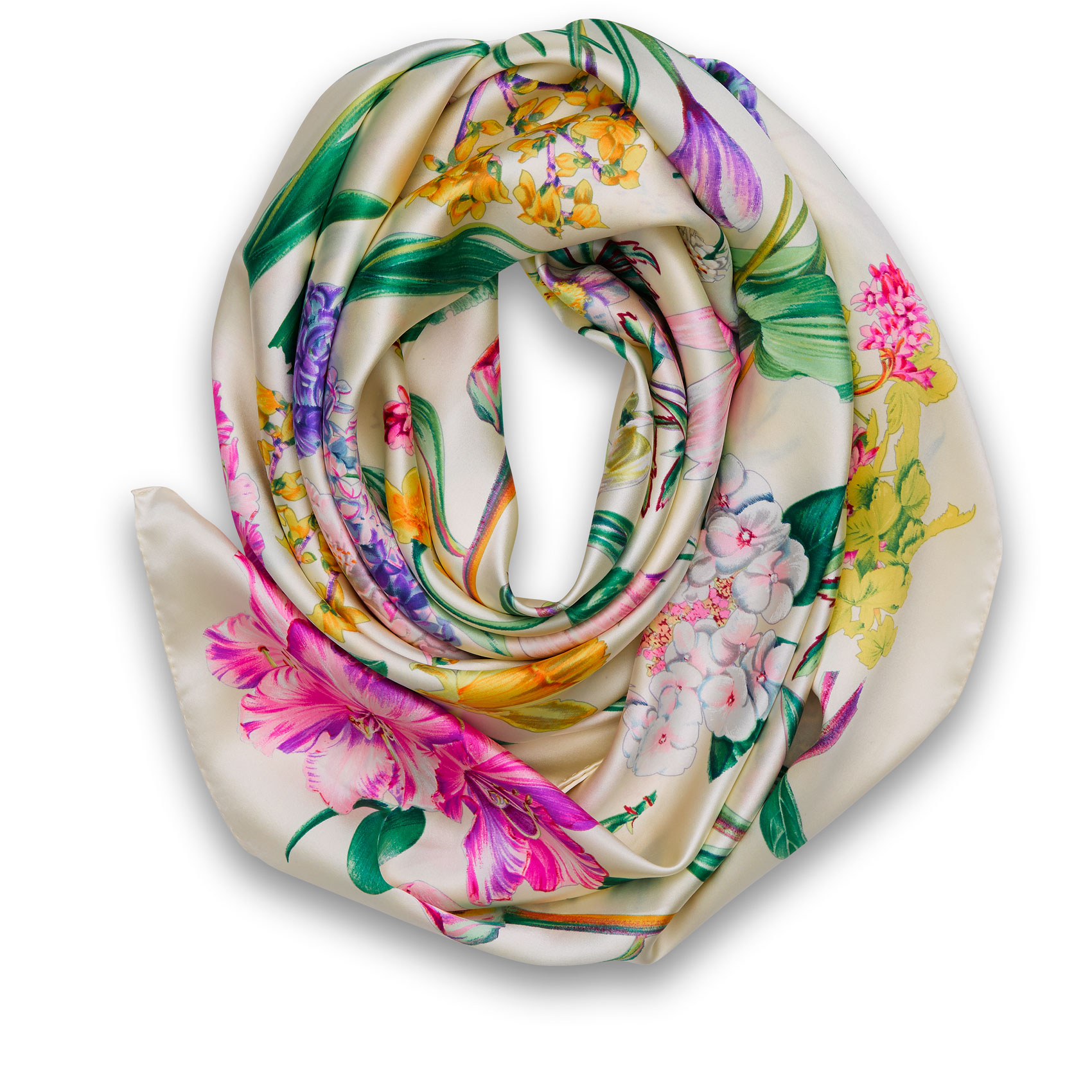 Springflowers Foulard Ivory colores Silk, Satin