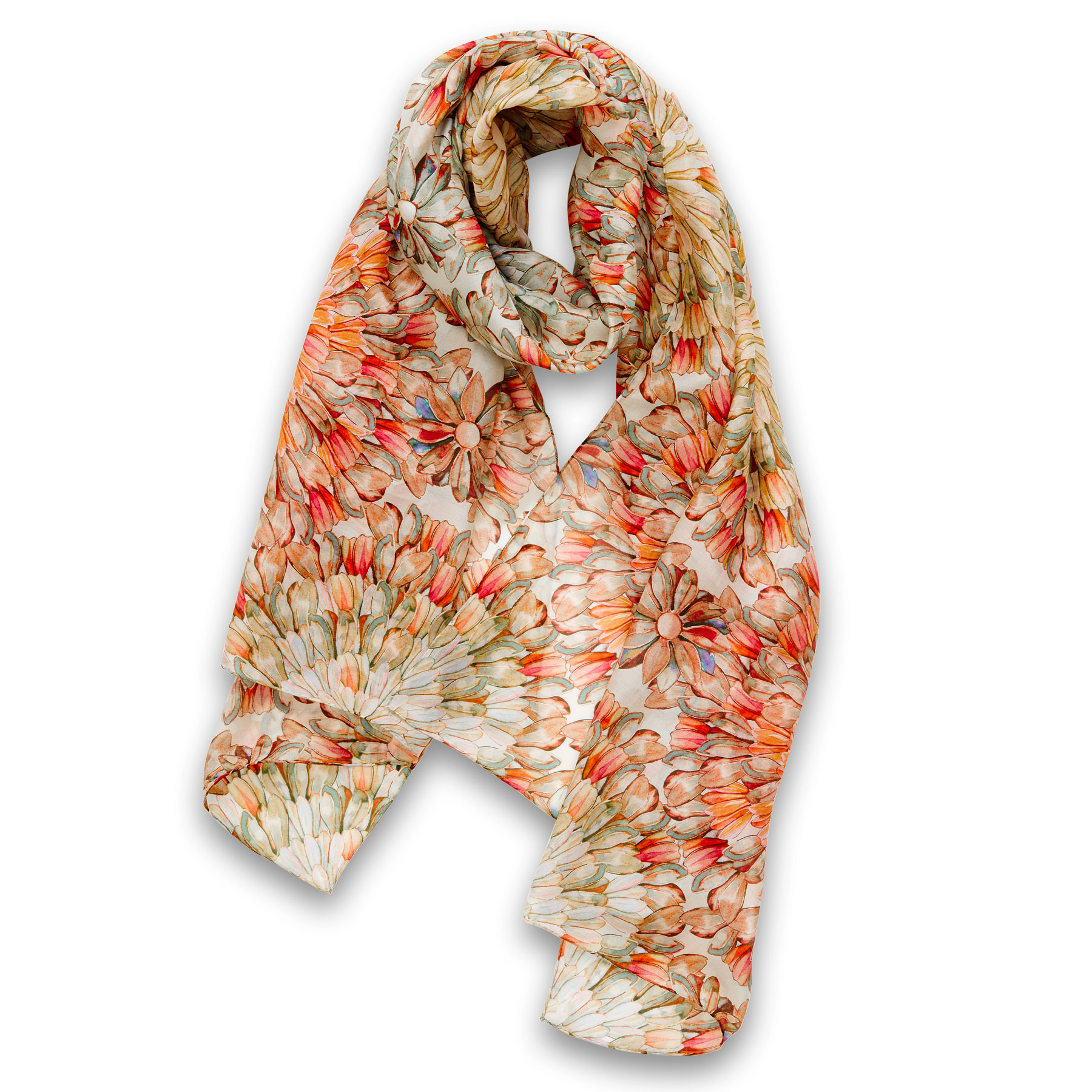 Petali Scarf Ruggine 67% Cotton 33% Silk