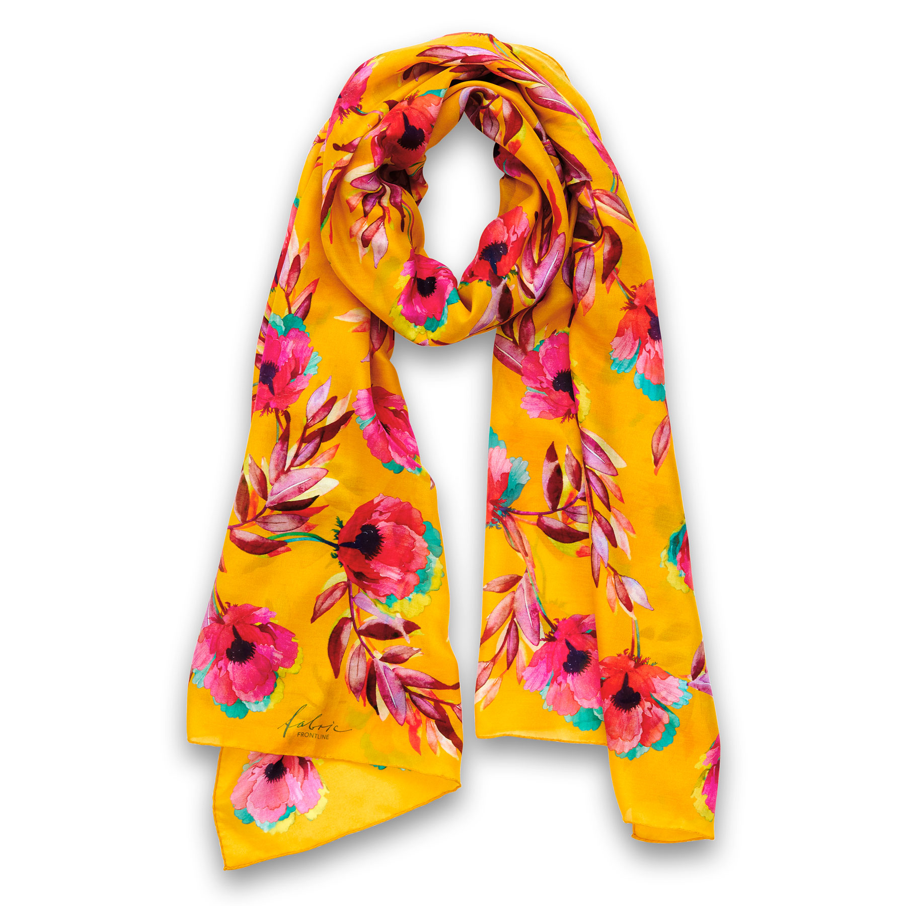 Poppy Scarf Senape 67% Cotton, 33% Silk