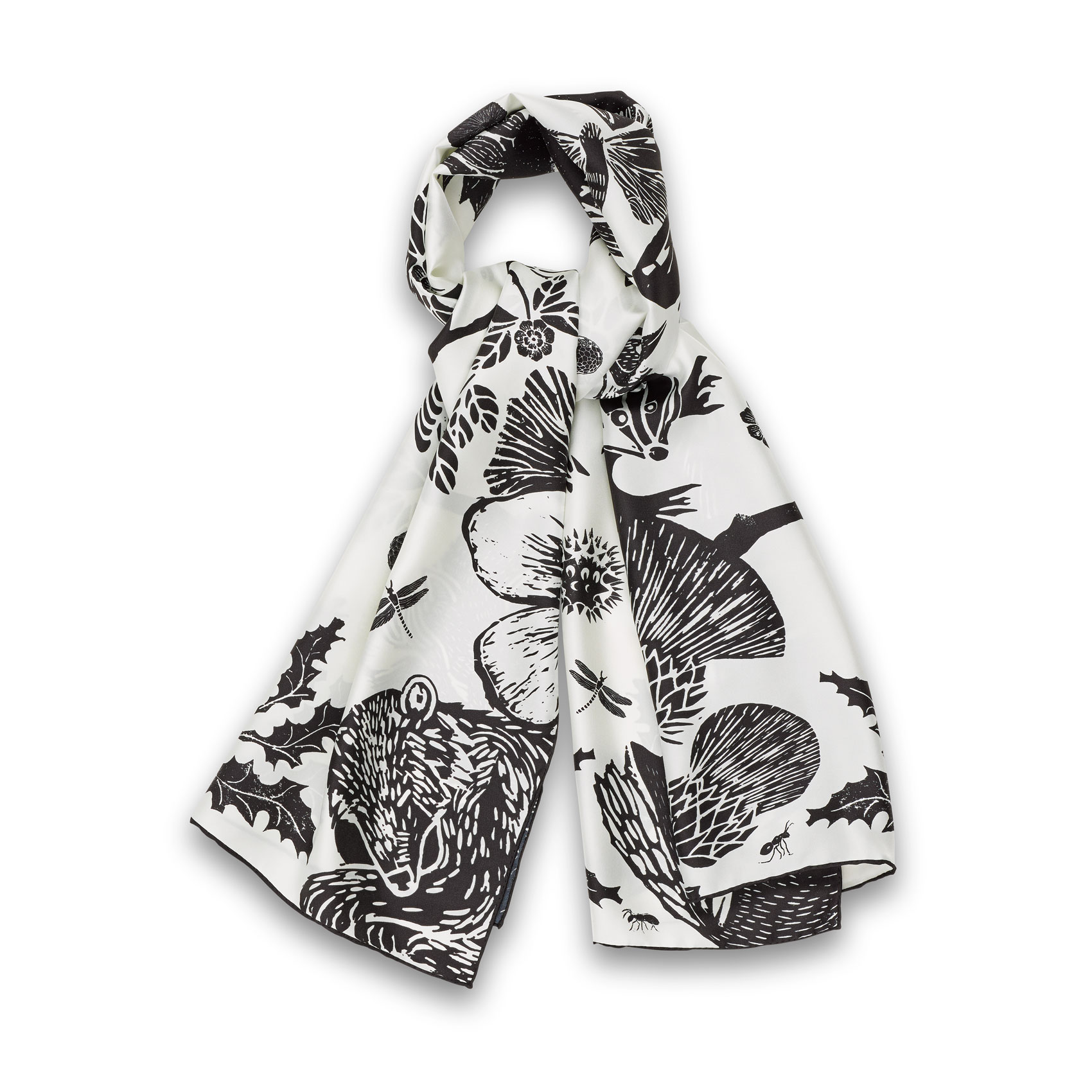 To Bee Scarf Nero Bianco Silk, Twill