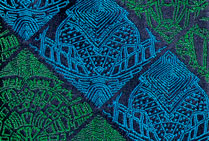 City Stripes Tie Blue Green Silk