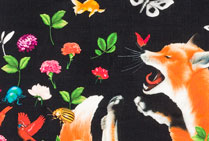 Fox Foulard Black Silk Georgette